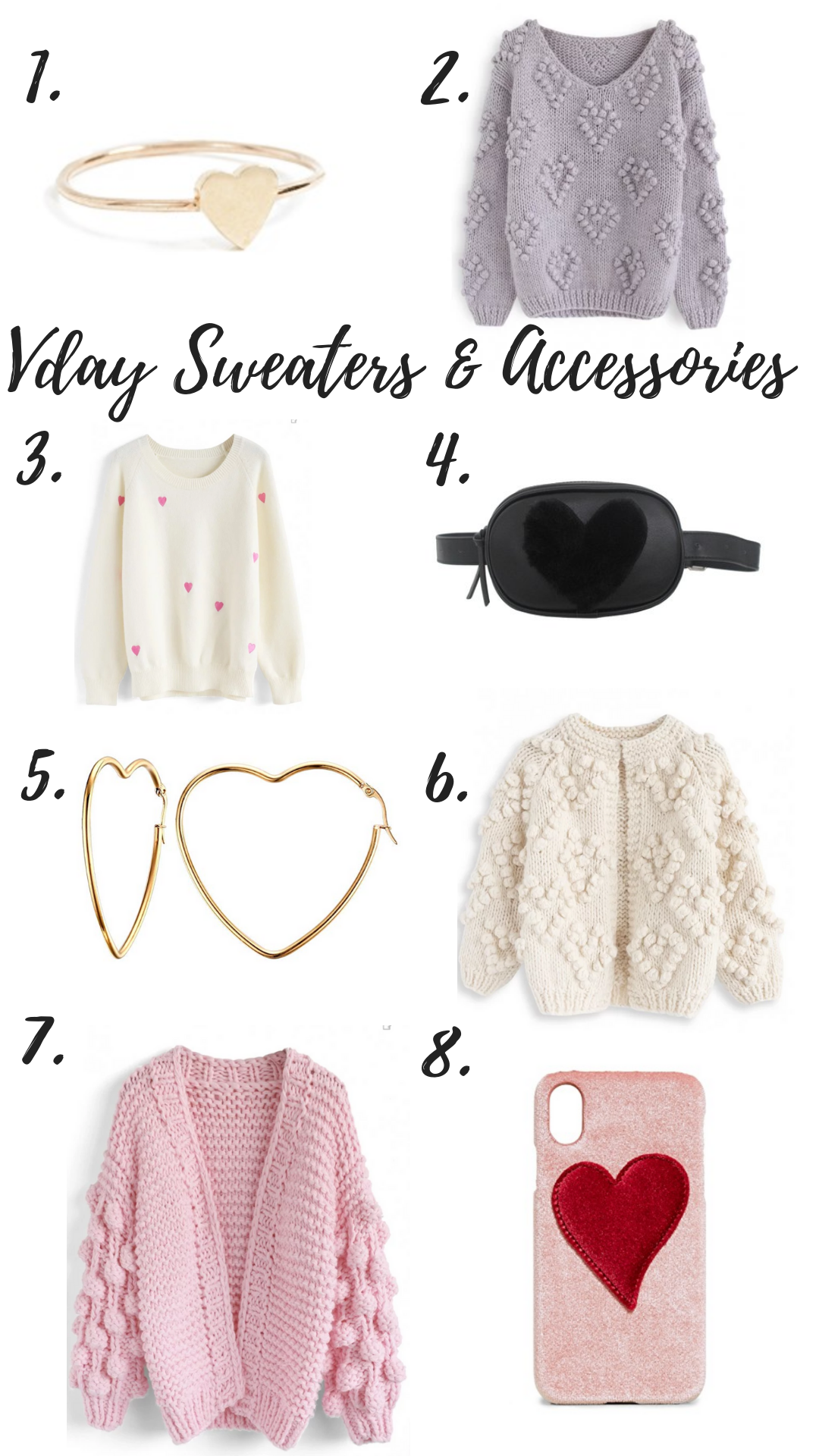 Vday Sweaters and Accessories
